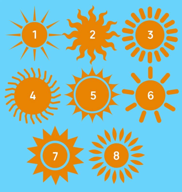 Выбери солнышко от 1 до 8 и узнай о скрытых чертах своей личности
